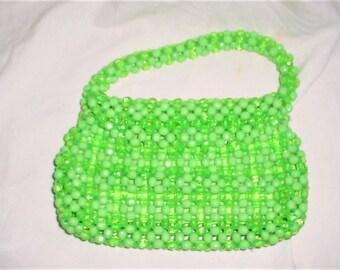Vintage 60s Mod Neon Green Top Handle Beaded Purse