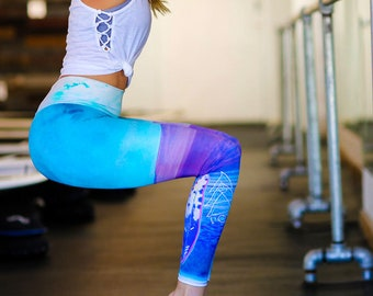 High Waisted Yoga Leggings * Sacred Geometry *  Colors of the Wind ** Made in USA by Leg Candy