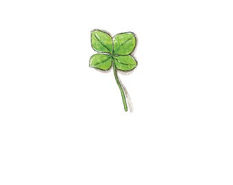 """Water Color Reproduction, 4 Leaf CLOVER, Art, WATERCOLOR, Print, Minimalist, Nature, """"Littles Series"""", Wall Art, Home Decor, Green"""