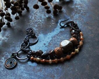 Brown charm bracelet, spiral amulet bracelet, rustic ceramic bracelet, celtic symbol bracelet, norse triple bracelet