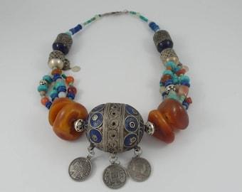 Ethnic necklace,Maroccan Gypsy necklace,Tribal necklace,Hippie necklace