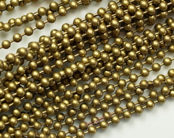 raw brass ball chain 10 meter 33 feet 2,3 mm with connector