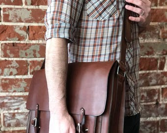 The Large Classic Satchel (pictured in Whiskey leather)