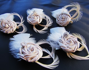 Set of 5 Bridesmaids Fascinators, wedding headpieces - Champagne Satin rose Ivory goose feathers and rhinestones