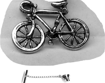 Bicycle Tie Tack Sterling Silver Free Domestic Shipping