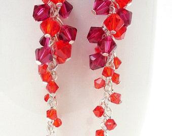 Red Swarovski Crystal Earrings, Long Red Earrings, Red Crystal Earrings, Colorful Earrings, Red Jewelry