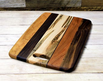 Cutting Board, Serving Board, Walnut, Cherry, Maple Wood