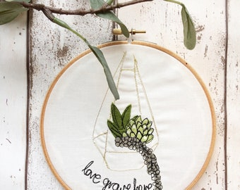 Love grows here succulent freehand embroidered decorative hanging hoop
