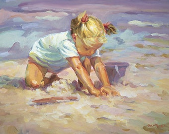 BEACH BLONDE   lovely 18 x 24 signed lithograph, blonde girl on the beach, impressionistic beach painting,   Lucelle Raad Art