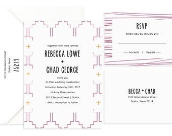 Wedding Invitation, Pattern Invitation, Printed Wedding Invitation, Affordable Wedding Invitation, Invitation and RSVP, Wedding Suite