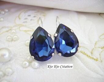 Earrings sleepers silver, Crystal, Teardrop or pear, blue Ultramarine accessory shaped cabochon, timeless, women's fashion