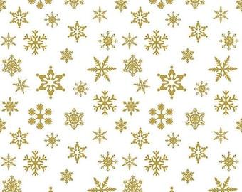 SALE Sparkle Snowflake Gold - Fat Quarter - Riley Blake- Gold Snowflakes On White - By The Yard SC566-GOLD - Snowflake