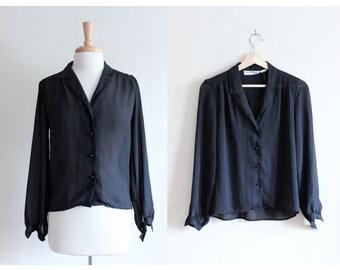 Vintage Pierre Cardin Sheer Black Button Down Top