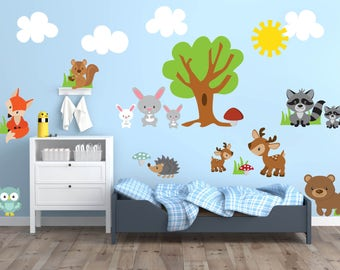 Woodland Theme Nursery Decor, Woodland Animal Wall Decals, Woodland Wall Decal, Animal Nursery Wall Decals, Woodland Animal Wall Art