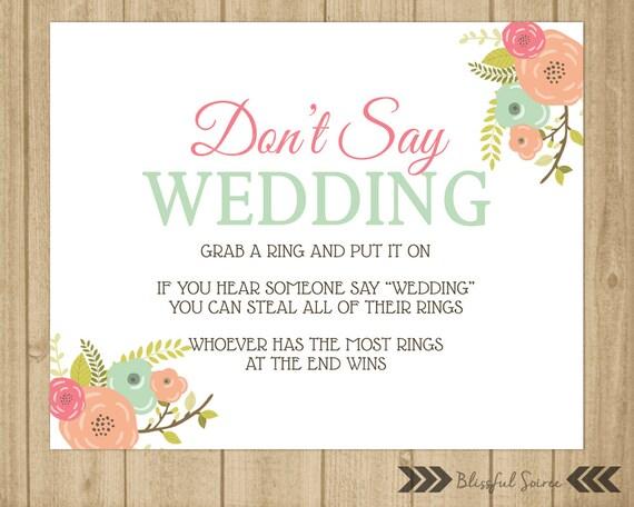 Dont Say Wedding Ring Game Bridal Shower Game