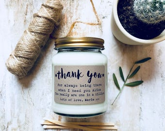 Personalised Thank You Message Soy Scented Candle , thank you gift , thanks , thank you candle , thank you message , thank you present
