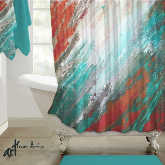 Abstract Shower Curtain Teal Aqua Coral Gray Home Decor