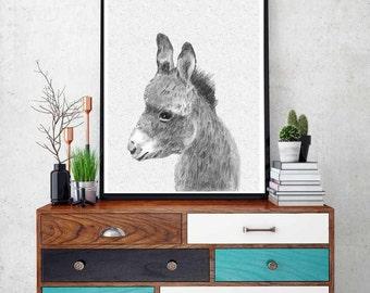Donkey Print, Nursery Decor, Printable Wall Art, Instant Download, Black and White Animal Print, Baby Donkey, Baby Animal, Grey and White