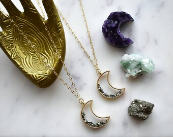 Izzy Crushed Pyrite Gold Moon Necklace