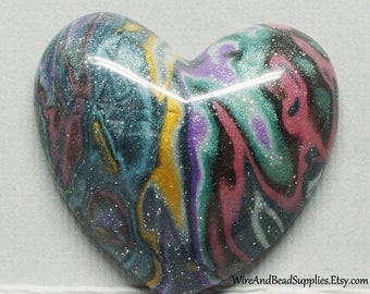 Heart Cabochon Blue, Yellow, Green, Pink and Purple Polymer Clay Mokume Gane Cabochon