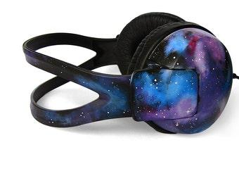Celestial Galaxy headphones gift for her custom Space Nebula unique birthday gift men women best friend gift astronomy earphones sound blue