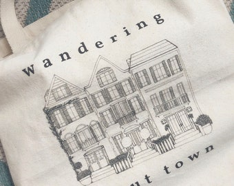 Wandering About Town Canvas Tote Bag   Travel Tote Bag   Architecture Illustration   Reusable Bag   Bridesmaid Tote Bag  