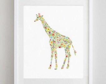 Giraffe Floral Watercolor Art Print