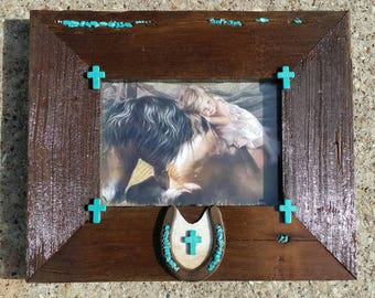 Western frame with turquoise, horseshoe,and  hide, very unique one-of-a-kind