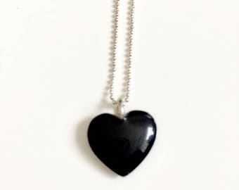 Silver Black, Cold Enamelled heart Pendant with 16inch ball chain.