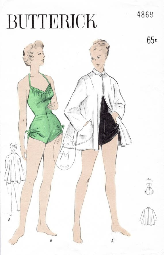 1950er Jahre 50er Jahre Vintage Badeanzug Nähen Muster