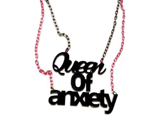 Black QUEEN OF ANXIETY Acrylic Necklace with Multi color chains // Multi strand Necklace