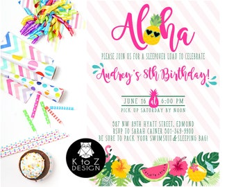 Luau Birthday Party /Luau Birthday Girl Invitation /Swim Party Birthday Invitation/ Printable Invitation / Printed Invitations