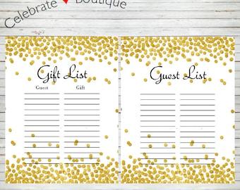baby shower instant download guest list signin gift list pink