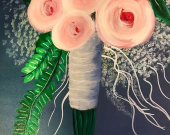 Impressionist cream and pink bridal bouquet painting
