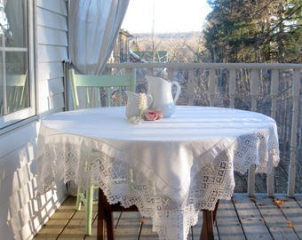 Vintage Damask Tablecloth, Crochet Border, Table Decor, Table Cloth, Linens and Lace, Table Linens, Dining Linens, by mailordervintage