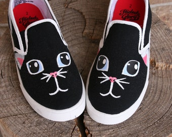Hand PAINTED CAT SHOES, Cat face, Baby/Toddler, Child/Youth, and Women's Sizes