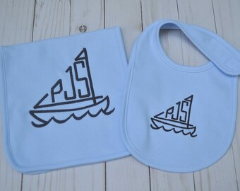 Monogrammed Sailboat Burp Cloth, Monogrammed Sailboat Bib, Nautical Bib, Nautical Burp Cloth