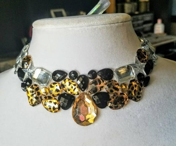 Wildcat - rhinestone bling necklace, illusion necklace, rhinestone bib, floating necklace, rhinestone statement necklace