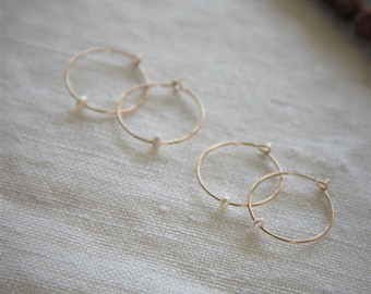 Small 14K Gold Hoop Earrings with Mother of Pearl - Bridesmaids Jewelry