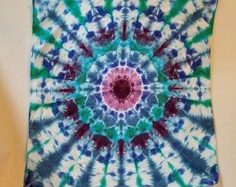 "TIE DYE Tapestry * Tie Dye MANDALA * 100% cotton - 20"" x 21"" bandana/wall hanging"