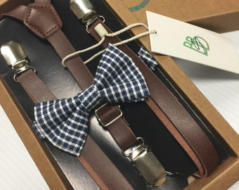 Boys Bow Tie and Suspender Set - Youth Toddler Kids | Leather and Dark Blue Check | Easter Sunday | Church | Holiday