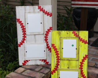 Baseball plank picture frame; softball picture frame; double picture frame; kids room decor; sports themed wall decor