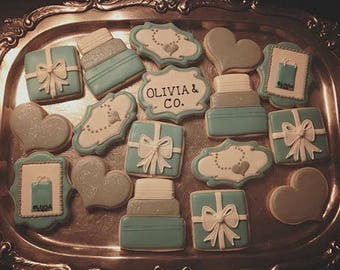 Tiffany and Co Themed - Decorated Sugar Cookies - 1 Dozen