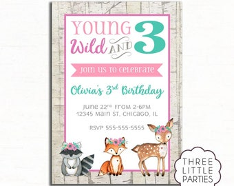Young Wild and 3 Birthday Invitation, Woodland Invitation, Printable Woodland Animal Invitation, Wild One Invitation, Third Birthday Invite