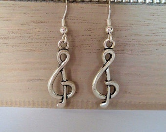 music note earrings, treble clef earrings