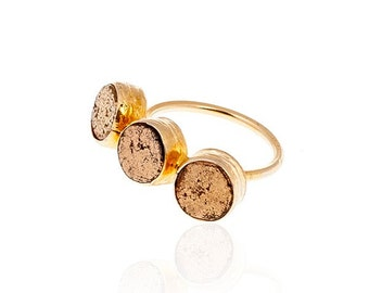 Golden Dots Pyrite Ring, gold ring, golden ring, gold vermeil over sterling silver, statement ring