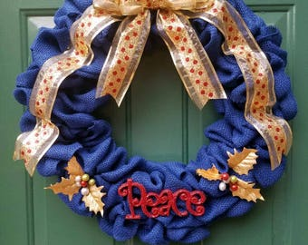 Blue burlap Peace holiday wreath