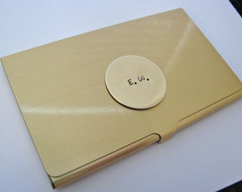 custom business card case - hand stamped brass