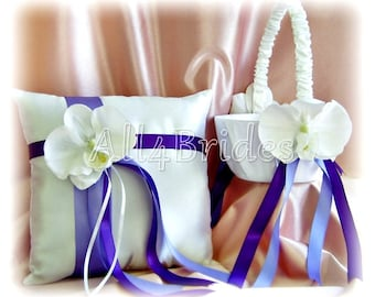Regency purple and lavender ring pillow and flower girl basket, orchid flower ring bearer pillow, flower girl basket
