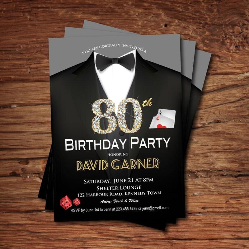 Casino 80th birthday invitation. Adult man birthday party